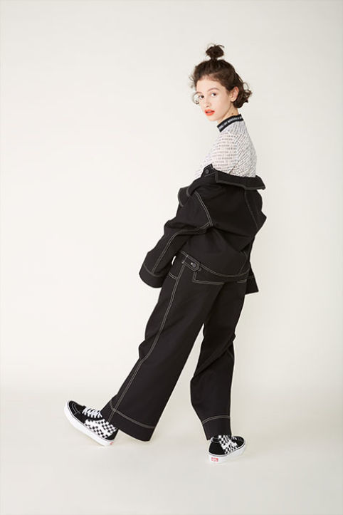 Contrast stitch utility trousers