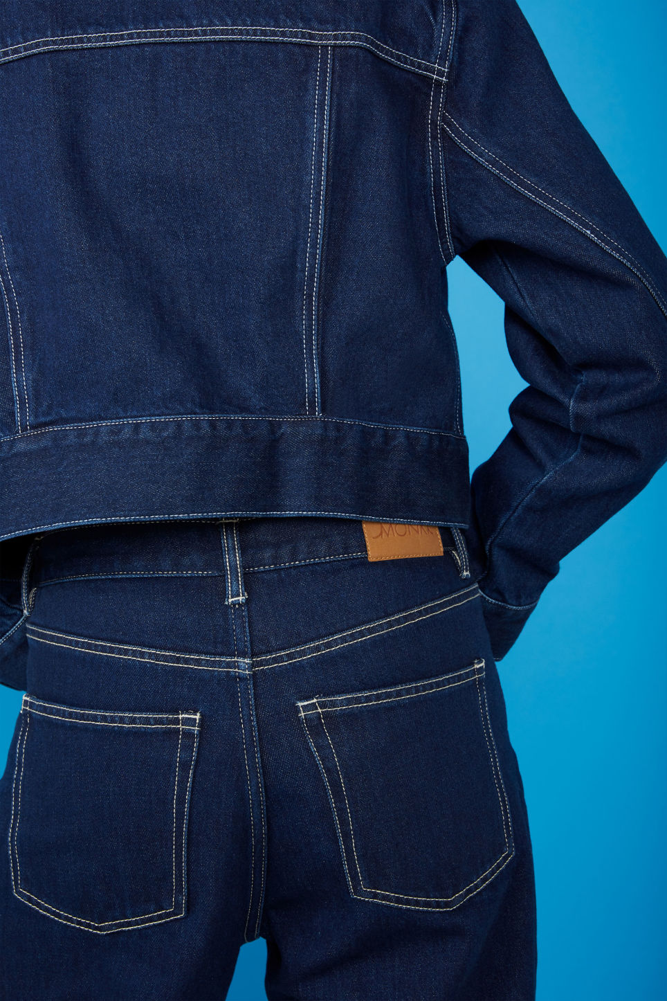 Detailed image of Monki cropped denim jacket in blue