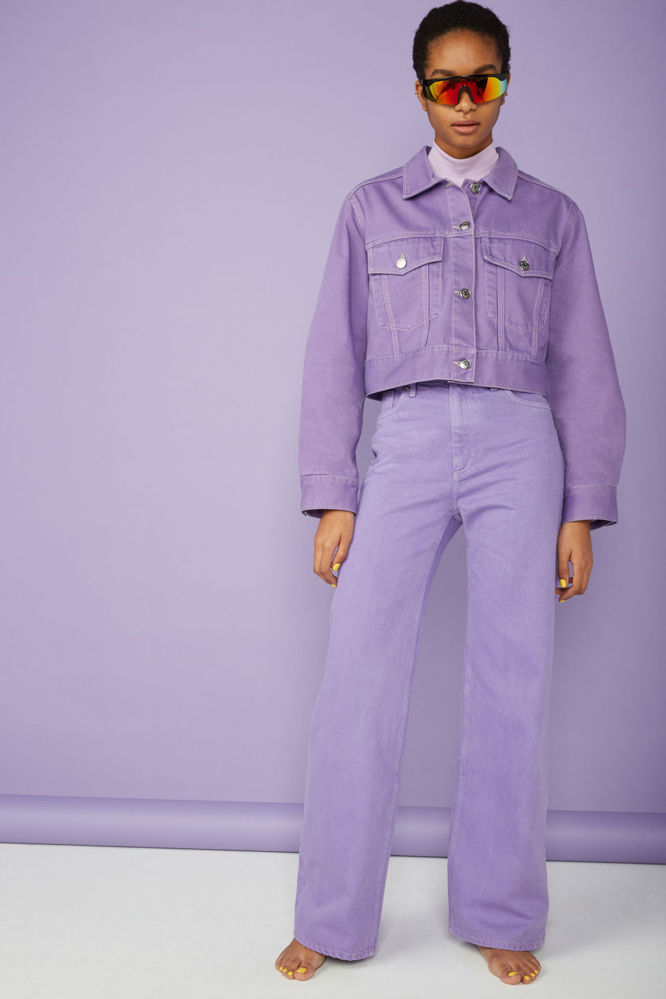 Detailed image of Monki cropped denim jacket in purple