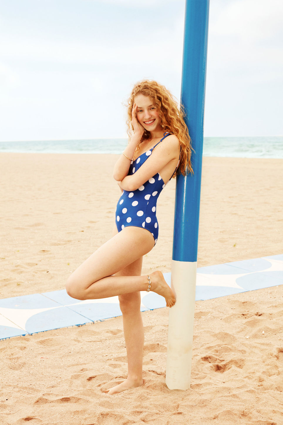Detailed image of Monki tie shoulder swimsuit in blue