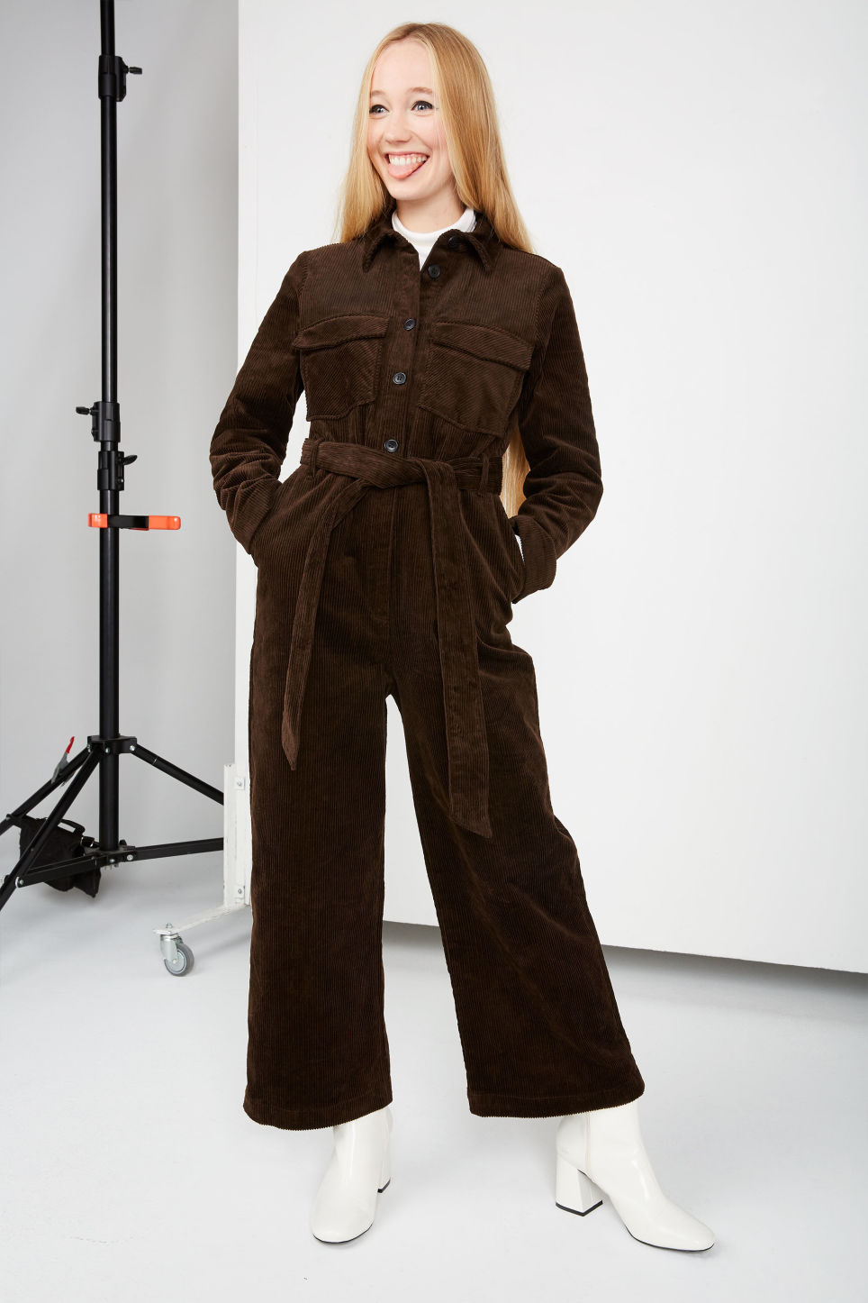 Detailed image of Monki corduroy jumpsuit in brown