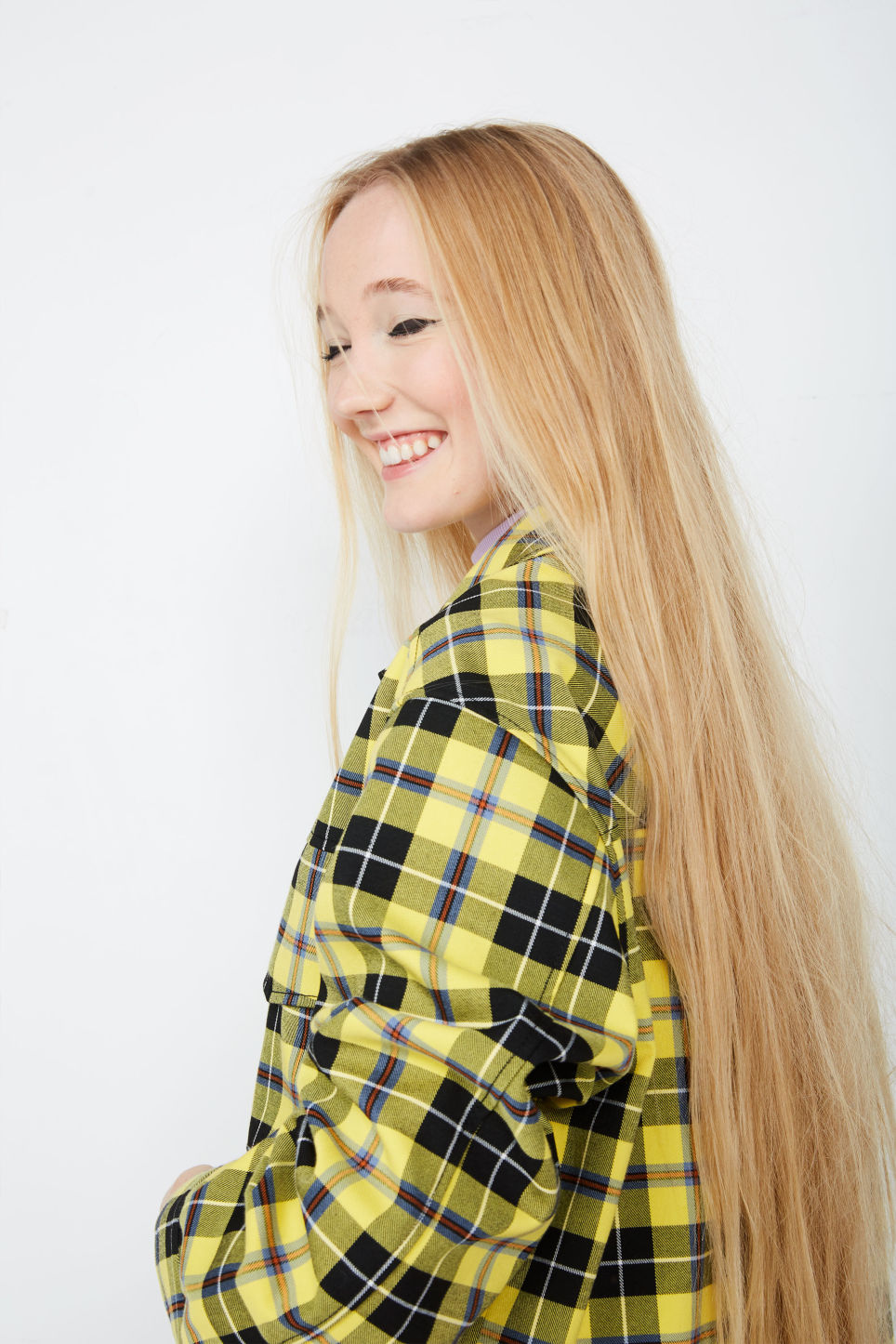 Detailed image of Monki plaid jacket in yellow
