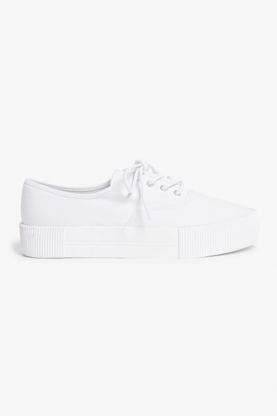 Detailed image of Monki platform sneakers in white