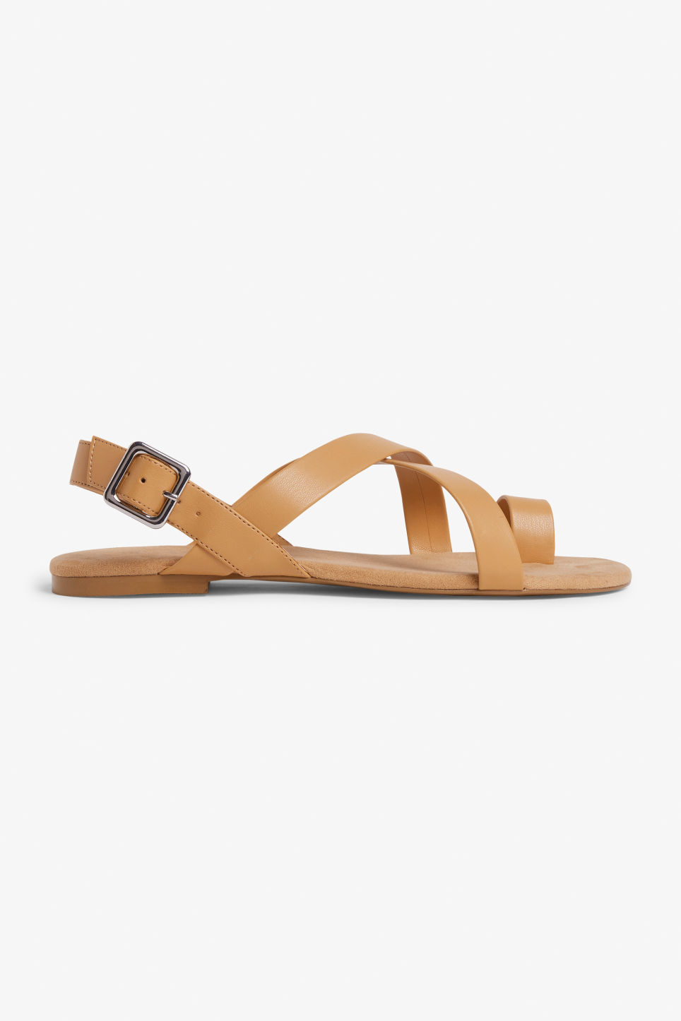 Detailed image of Monki cross-over strap sandals in yellow