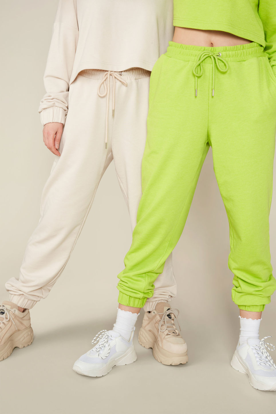 Detailed image of Monki sweat pants in beige